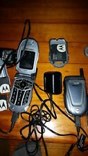 Lot Of 3 -Motorola ic402 Sprint Nextel Hybrid Cell Phone,batteries & Ac chargers