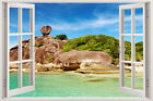 Wall Art Stickers 3D Sunshine Beach Window View Removable Vinyl Decal Home Decor