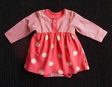 Baby clothes GIRL 0-3m Mothercare coral pink/coffee stripe/spot dress/bodysuitLS