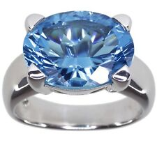 Blue Topaz Oval Gemstone 8.82 carat Solitaire Sterling Silver Ring size O