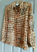 Laura Petite 14 blouse sheer with gold metallic long sleeved