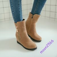 Women Wedge Hidden Heels Fashion-Ankle Boots Pure Color Suede Side Zipper Shoes