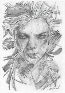 original drawing A4 37BE art samovar Modern sketch Graphite male portrait