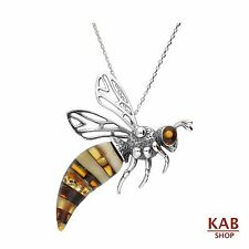 COGNAC BALTIC AMBER STERLING SILVER 925 JEWELLERY PENDANT BEE ANIMAL, KAB-166