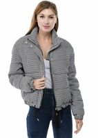 Women's Juniors houndstooth Pattern Quilted Poly Filled Fashion Jacket Coat