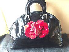 Most Gorgeous RENATO ANGI Floral Embellishment Black Patent Leather Bag