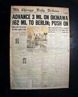 BATTLE OF OKINAWA Begins & Tokashiki Mass Suicide 1945 World War II Newspaper
