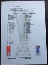 2001 UEFA Cup Final Liverpool v Deportivo Alaves matchsheet