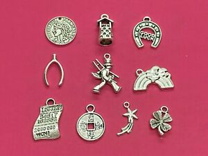 Tibetan Silver Mixed Lucky/Good Luck Themed Charms - 10 per pack