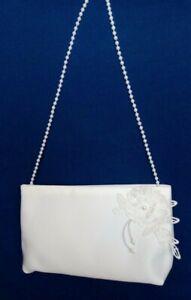 Brauttasche mit Blume Perle Braut Tasche creme oder weiß z. Brautkleid Hochzeit
