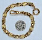 Civil War Style Fancy Swirl Gold Plated Short Pocket Watch Chain