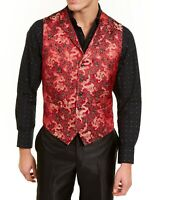 Tallia Mens Suit Vest Red Size 44 R Qipao Satin Jacquard Dragon Print $125 198
