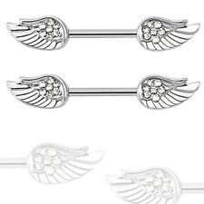 "Pair 14g 1/2"" Length Angel Wing with Paved Clear CZ Nipple Rings Barbell"