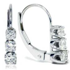 1/2ct 3 Stone Diamond Earrings 14K White Gold