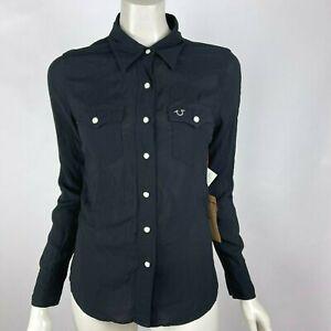 True Religion Black Western Shirt Crystal logo Snap-Up Long Sleeve Women XS $132