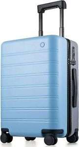 """Lightweight Suitcase Carry on Luggage 20"""" Blue+Gray Spinner Wheels PC Hardside"""