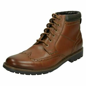 Mens Clarks 'Curington Rise' Casual Leather Lace Up Brogue Style Boots