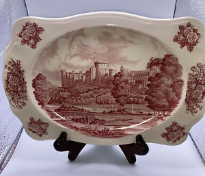 Johnson Bros Royal Homes Of Britain Windsor Castle Red & White 10.5 Ins x 7 Ins