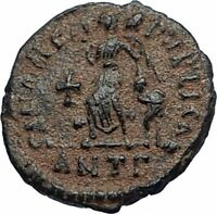 ARCADIUS Authentic 383AD Ancient Roman Coin w VICTORY ANGEL & CROSS i67115