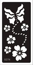 Tattoo decal stencil body jewllery self adhesive multiple motif flowers S274