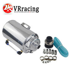 2L UNIVERSAL POLISHED ALUMINUM OIL RESERVOIR CATCH CAN TANK WITH BREATHER FILTER