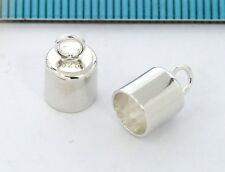 2x BRIGHT STERLING SILVER 5mm cord PLAIN LEATHER END CAP #2801