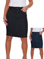 """NEW Womens Denim Midi Above Knee 21"""" Jeans Skirt Smooth Wash Casual 10-12"""
