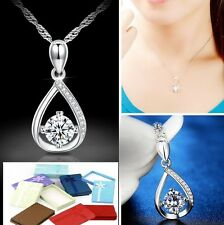Sterling Silver Heart Cubic Zirconia Crystal Waterdrop Pendant Necklace Chain L1
