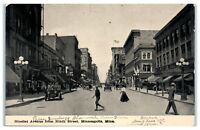 Early 1900s Nicollet Ave from Ninth St, Dayton Building, Minneapolis MN Postcard