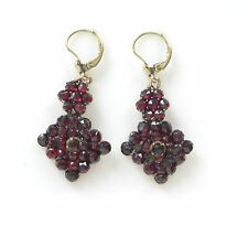 Vtg Victorian Rose Cut Bohemian Garnet Gilt Dangle Drop Earrings Gold Doublé