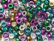 Metallico Perline Pony confezione da circa 1000 Colori Assortiti 6mm x 9mm