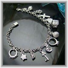 Bettelarmband 925 Silber Plattiert mit 13 Charms Anhänger. (4009)
