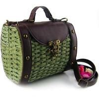 Womens Vintage Wicker Straw Shoulder Bag with Vegan Leather Handle