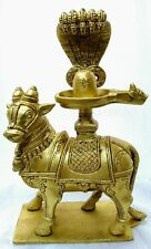 Nandi with shivling and Naag  brass puja Hindu cow with shivling USA seller