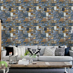 3D Effect Wall Sticker Contact Paper Removable Wallpaper Home Decor Stone Decor