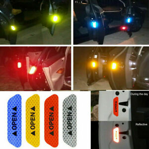 4x Safety Reflective Tape Open Sign Warning Mark Car Door Sticker Accessories
