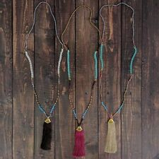 Anthropologie SAND, Mint  & Turquoise TASSEL Long GLASS Bead NECKLACE BOHO New