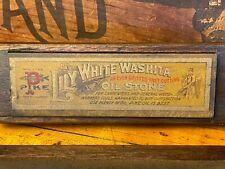 J34 Vintage Pike Lily White Washita Oil Stone Knife Sharpening  NR WOOD BOX