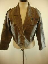 Womens M Vtg 1980s The Flight Club Brown Leather Bomber Jacket Top Gun Patches