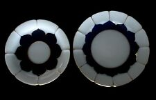 VTG MEISSEN SET OF SAUCER AND DESSERT PLATES COBALT BLUE, WHITE AND GOLD MINT