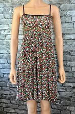 Women's Black Floral Sleeveless Stretch Beach Dress Tunic Top Size 8 - Eu 36
