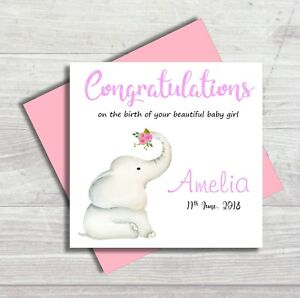 Personalised Birth New Baby Girl Congratulations Card Elephant