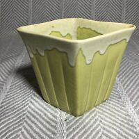 Marietta Modern Chartreuse Green Yellow Ceramic Glazed Planter Vintage