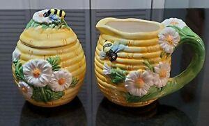Vintage. Yellow Honeycomb Bee Hive Creamer Sugar Daisies Green Stem Handle