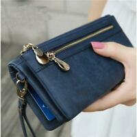 Women Wallet PU Leather Ladies Long Bifold Clutch Checkbook Credit Card H