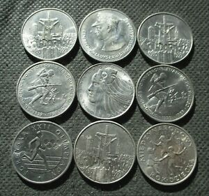 LOT OF NINE OLD COMMEMORATIVE COINS OF POLAND (SOLIDARNOSC MOSCOW) - MIX 593