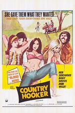COUNTRY HOOKER original 1970 SEXPLOITATION one sheet movie poster RENE BOND