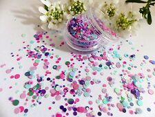 Nail Art Chunky *Carnival* Purple Pink Dot Circle Shape Glitter Spangle Mix Pot