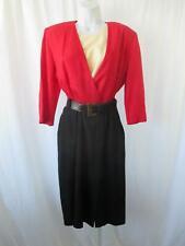 4d65acf80c Vintage Katie Mfg Vestido SZ 12 Rojo Negro con Cinturón cóctel oficina  secretario de carrera