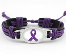 """Purple Cancer Ribbon Relay For Life Black Leather Cord 7.5"""" - 8.5"""" Bracelet"""